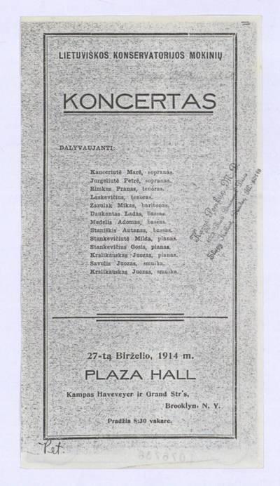 Lietuviškos konservatorijos mokinių koncertas. - 1914
