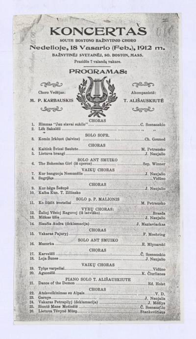 Koncertas South Bostono bažnytinio choro nedėlioje, 18 vasario (Feb.), 1912 m. bažnytinėj svetainėj, So. Boston, Mass. - 1912