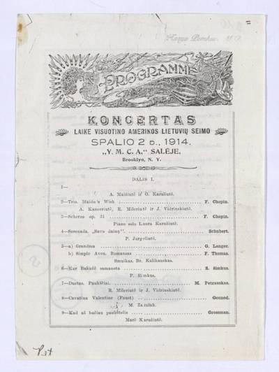 Programme. - 1914