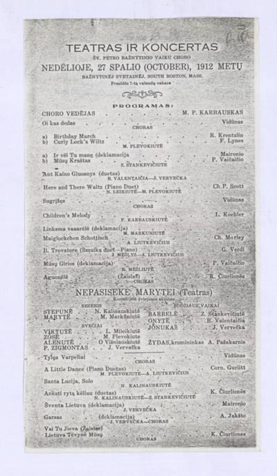 Teatras ir koncertas Šv. Petro bažnytinio vaikų choro nedėlioje, 27 spalio (October), 1912 metų bažnytinėj svetainėj, South Boston, Mass. - 1912