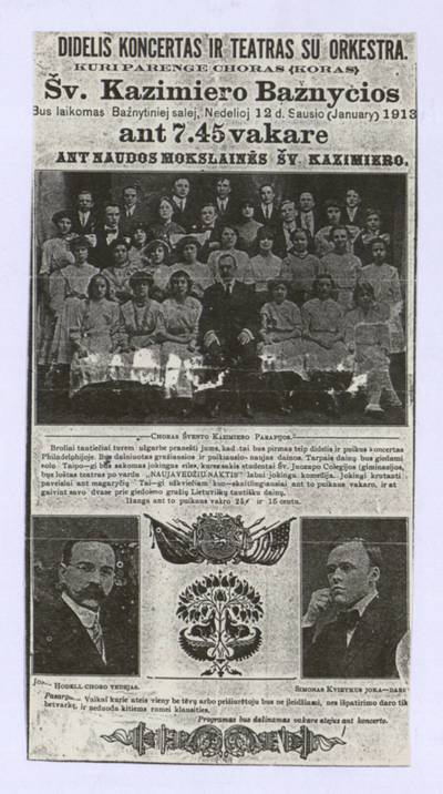 Didelis koncertas ir teatras su orkestra. Kuri parenge choras (koras) Šv. Kazimiero bažnyčios [Filadelfijoje]. - 1913