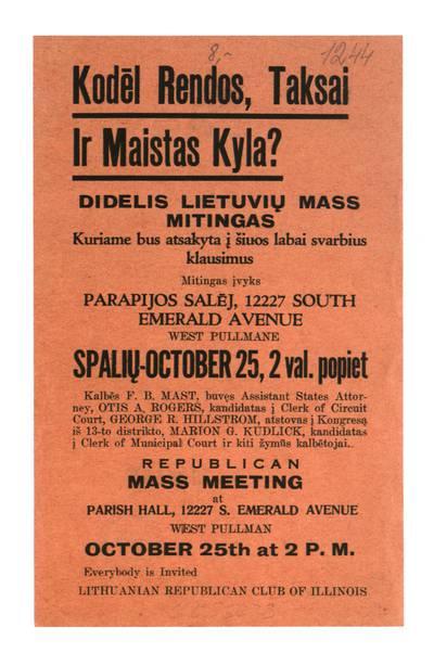 Kodėl rendos, taksai ir maistas kyla?. - 1919