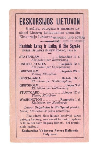 Ekskursijos Lietuvon. Greičiau, patogiau ir smagiau pasieksi Lietuvą keliaudamas viena šių ekskursijų Lietuvon. - 1934