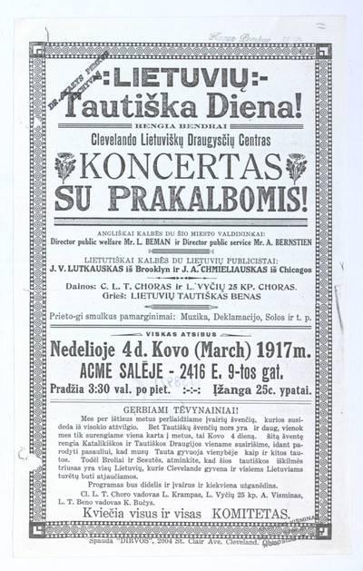 Lietuvių tautiška diena! Rengia bendrai Clevelando lietuviškų draugysčių centras. Koncertas su prakalbomis!. - 1917
