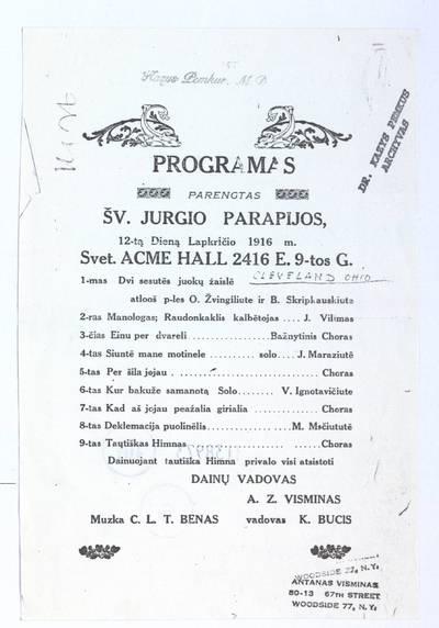 Programas parengtas Šv. Jurgio parapijos, 12-tą dieną lapkričio 1916 m. Svet. Acme Hall. - 1916