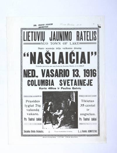 Lietuvių jaunimo ratelis nuo Town of Lake stato scenoje triju veiksmu dramą
