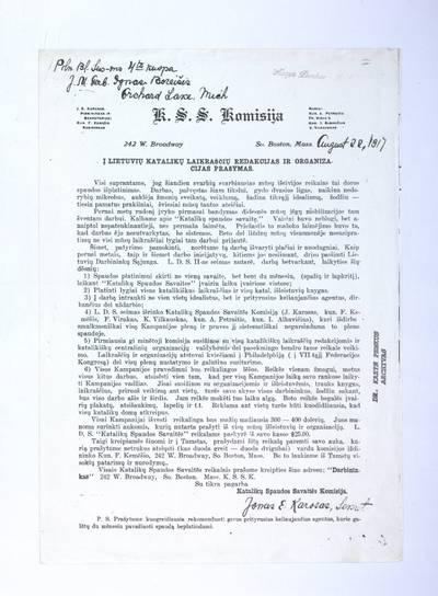 Į lietuvių katalikų laikraščių redakcijas ir organizacijas prašymas / Katalikų spaudos savaitės komisija. - 1917