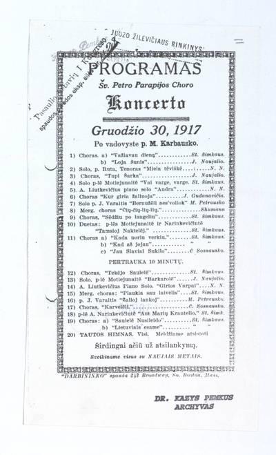 Programas Šv. Petro parapijos choro koncerto gruodžio 30, 1917. - 1917