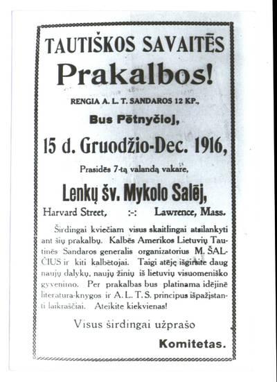 Tautiškos savaitės prakalbos!. - 1916
