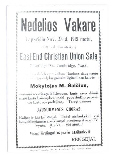 Nedelios vakare, lapkričio - Nov. 28 d. 1915 metu visi ateikit į East End Christian Union salę, Cambridge, Mass. - 1915