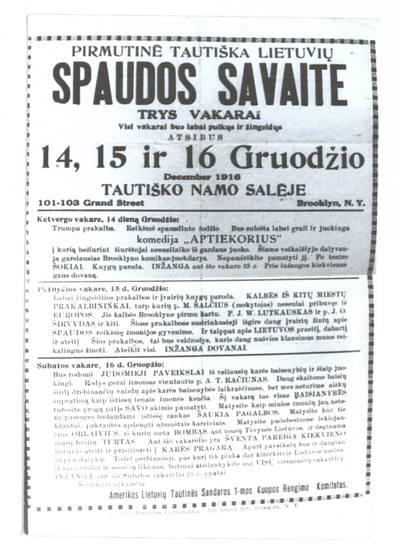 Pirmutinė tautiška lietuvių spaudos savaite. - 1916