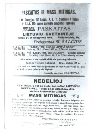 Paskaitos ir mass mitingas. - apie 1917