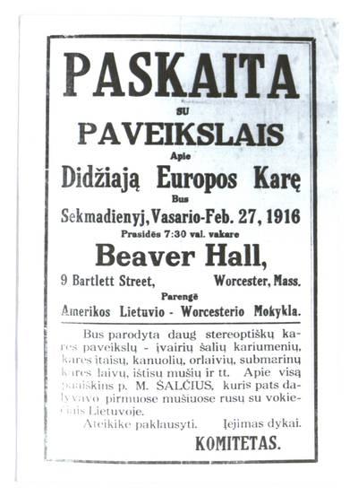 Paskaita su paveikslais apie didžiają Europos karę bus sekmadienyj, vasario - Feb. 27, 1916, Beaver Hall, Worcester, Mass. - 1916
