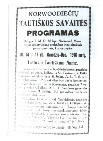 Norwoodiečių tautiškos savaitės programas. - 1916