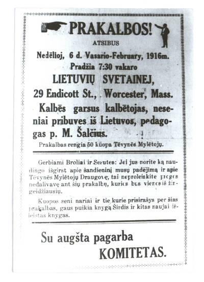 Prakalbos! Atsibus nedėlioj, 6 d. vasario - February, 1916 m. Lietuvių svetainej, Worcester, Mass. - 1916