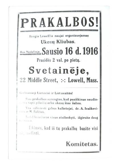 Prakalbos! Rengia Lowell'io naujai organizuojamas Ukesų kliubas. - 1916