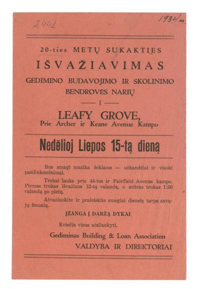 20-ties metų sukakties išvažiavimas Gedimino budavojimo ir skolinimo bendrovės narių į Leafy Grove ... nedėlioj liepos 15-tą dieną. - 1934