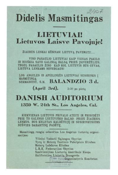 Didelis masmitingas. Lietuviai! Lietuvos laisve pavojuje! Žiaurus lenkai kėsinasi Lietuvą pavergti! ... / organizatyvis komitetas. - 1921