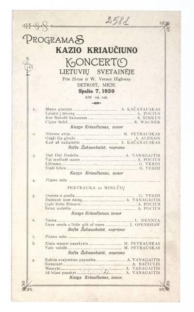 Programas Kazio Kriaučiuno koncerto lietuvių svetainėje ... Detroit, Mich. spalio 7, 1930 ... - 1930