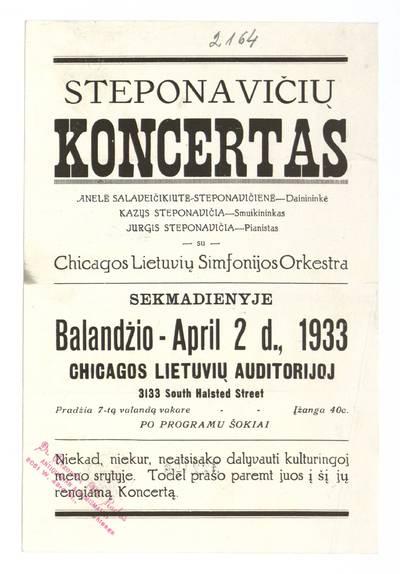 Steponavičių koncertas. - 1933