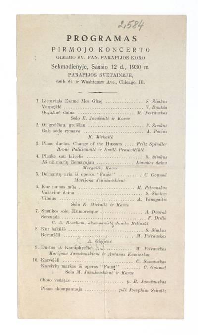 Programas pirmojo koncerto Gimimo Šv. Pan. parapijos koro sekmadienyje, sausio 12 d., 1930 m. parapijos svetainėje Chicago, Ill. - 1930