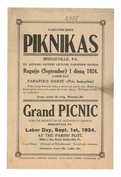 Paskutinis šįmet piknikas Bridgeville, Pa. Šv. Antano vietinės lietuvių parapijos naudai rugsėjo (September) 1 dieną 1924, Labour day, parapijos darže. - 1924