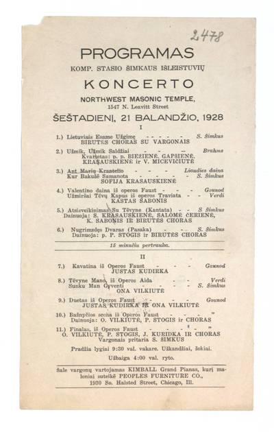 Programas komp. Stasio Šimkaus išleistuvių koncerto Northwest Masonic Temple šeštadienį, 21 balandžio, 1928. - 1928