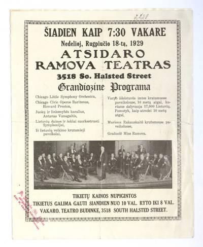Šiadien kaip 7:30 vakare nedelioj, rugpiučio 18-tą, 1929 atsidaro Ramova teatras. - 1929
