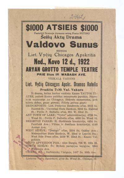 $ 1000 atsieis pastatyti scenoje įžymaus mūsų poeto Putino šešių aktų drama Valdovo sunus. - 1922