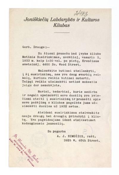 Joniškiečių labdarybės ir kulturos kliubas. - 1933