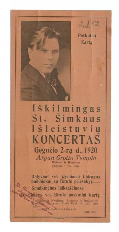 Paskutinį kartą iškilmingas St. Šimkaus išleistuvių koncertas gegužio 2-rą d., 1920 Aryan Grotto Temple. - 1920