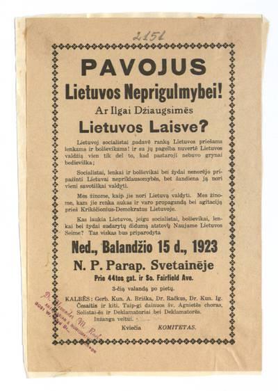 Pavojus Lietuvos neprigulmybei! Ar ilgai dżiaugsimės Lietuvos laisve?. - 1923