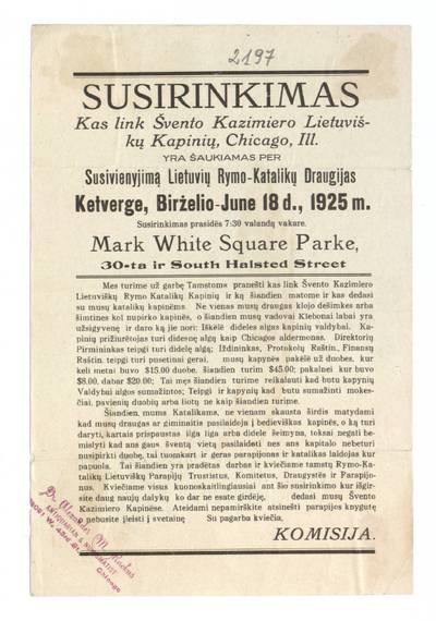 Susirinkimas kas link švento Kazimiero lietuviškų kapinių, Chicago, Ill. yra šaukiamas per susivienyjimą Lietuvos Rymo-katalikų draugijas ketverge, birželio - June 18 d., 1925 m. - 1925