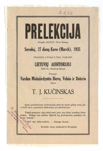 Prelekcija. Rengia ALDLD 19-ta kuopa seredoj, 27 dieną kovo (March), 1935 Lietuvių auditorijoj. - 1935