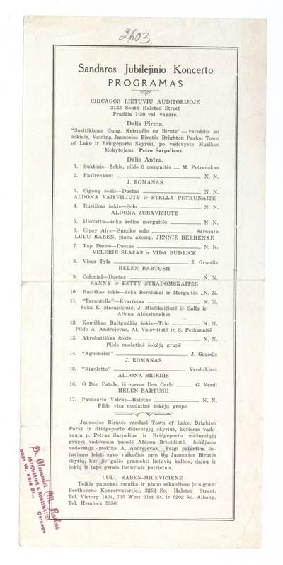 Sandaros jubilejinio koncerto programas Chicagos lietuvių auditorijoje ... - apie 1930