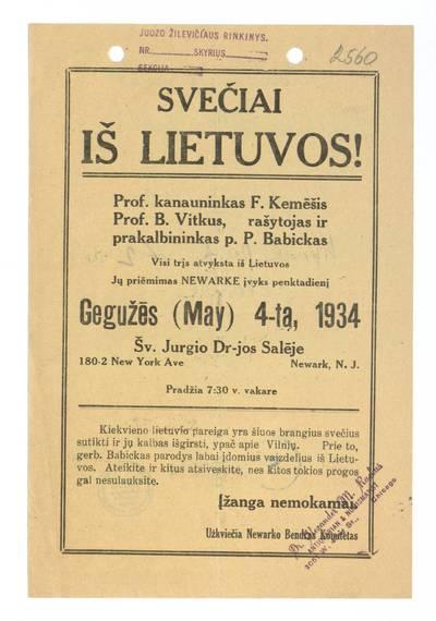 Svečiai iš Lietuvos! Prof. kanauninkas F. Kemėšis, prof. B. Vitkus, rašytojas ir prakalbininkas p. P. Babickas. - 1934