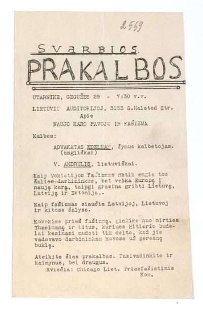 Svarbios prakalbos. Utarnike, gegužes 29 - 7:30 v.v. Lietuvių auditorijoj apie naujo karo pavojų ir fašizmą. - 1928