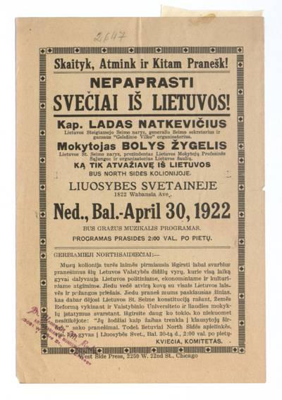 Skaityk, atmink ir kitam pranešk! Nepaprasti svečiai iš Lietuvos! ... Liuosybes svetaineje ned., bal. - April 30, 1922. - 1922