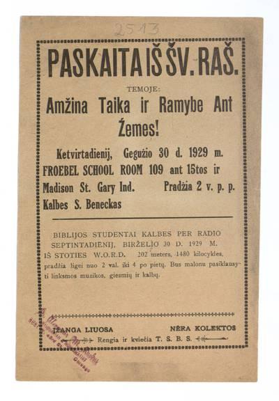 Paskaita iš Šv. Raš[to] temoje: Amžina taika ir ramybe ant žemes! Ketvirtadienij, gegužio 30 d. 1929 m. Froebel School Room ... kalbes S. Beneckas. - 1929