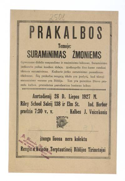 Prakalbos temoje: Suraminimas žmoniems, anrtadienij [i.e. antradienį] 26 d. liepos 1927 m. Riley School saleij ... kalbes J. Vaicekonis. - 1927