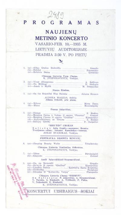 Programas Naujienų metinio koncerto vasario - Feb. 10, - 1935 m. Lietuvių auditorijoje ... - 1935