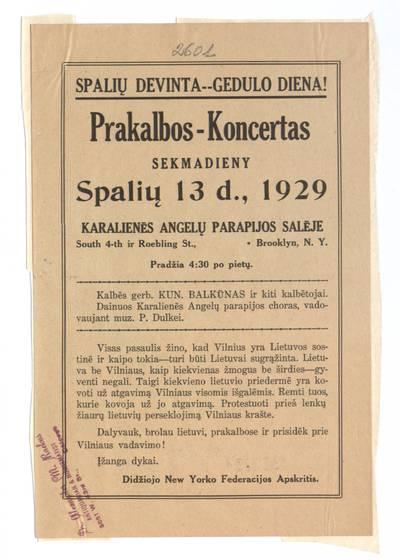 Prakalbos-koncertas sekmadieny spalių 13 d., 1929 Karalienės angelų parapijos salėje ... / Didžiojo New Yorko federacijos apskritis. - 1929