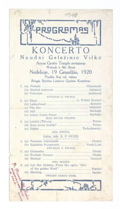 Programas koncerto naudai Geležinio vilko Aryan Grotto Temple svetaineje nedelioje, 19 gruodžio, 1920 ... rengia Bendras Lietuvos gynimo komitetas. - 1920