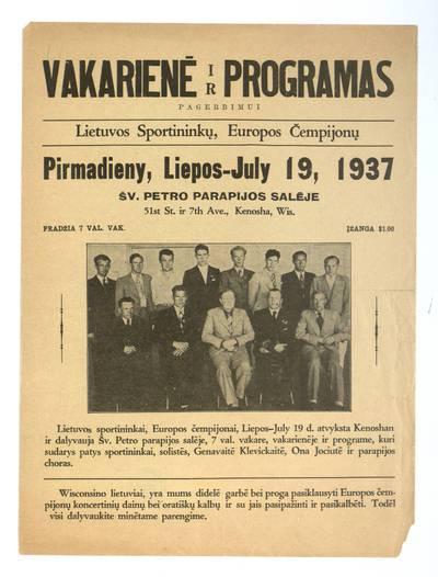 Vakarienė ir programas pagerbimui Lietuvos sportininkų, Europos čempijonų pirmadieny, liepos - July 19, 1937 Šv. Petro salėje, Kenosha, Wis. - 1937