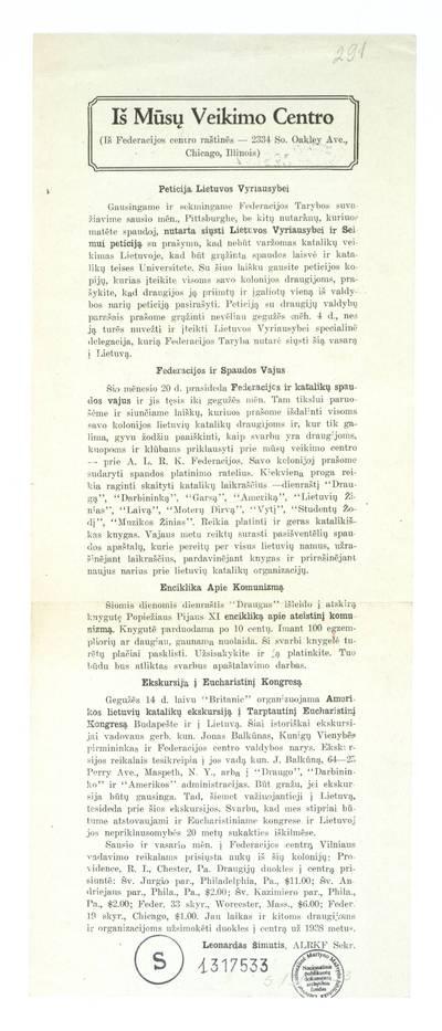 Peticija Lietuvos Vyriausybei / Leonardas Šimutis, ALRKF sekr. - 1938