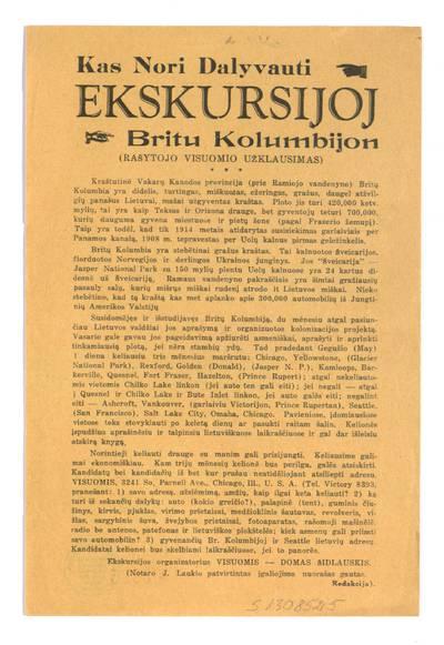 Kas nori dalyvauti ekskursijoj Britu Kolumbijon (rašytojo Visuomio užklausimas) / ekskursijos organizatorius Visuomis - Domas Šidlauskis. - 1938