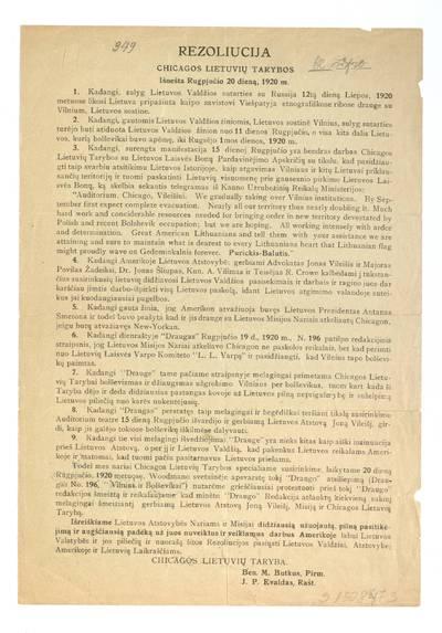 Rezoliucija Chicagos lietuvių tarybos išnešta rugpjučio 20 dieną, 1920 m. / Chicagos lietuvių taryba. - 1920