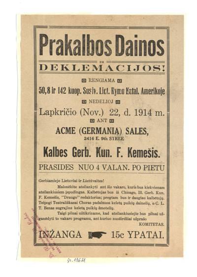 Prakalbos dainos ir deklamacijos!. - 1914