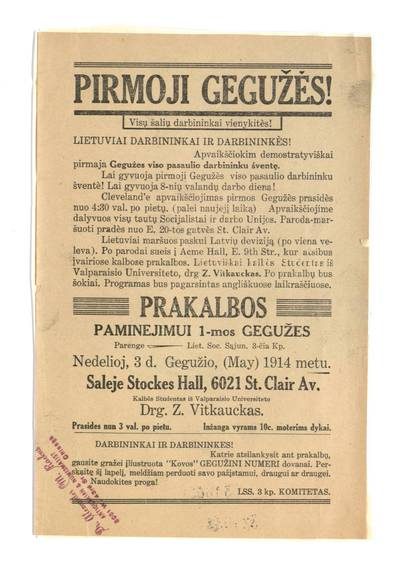 Pirmoji gegužės! Visų šalių darbininkai vienykitės! Lietuviai darbininkai ir darbininkės!