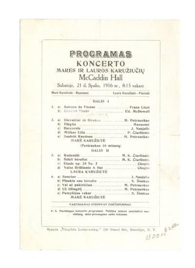 Programas koncerto Marės ir Lauros Karužiučių McCaddin Hall [Bruklinas] subatoje, 21 d. spalio, 1916 m.... - 1916